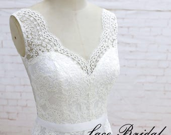 A line wedding dress, Simple wedding dress, Romantic dress, Romantic bridal gown, Elegant lace wedding dress