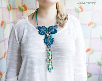 Micro-macrame necklace, unique macrame, statement necklace, long fringe, beaded, beadwork, blue sea green beige, special occasion, knots