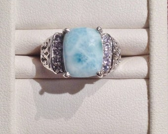 ON SALE - Larimar and Tanzanite Fleur de Lis Filigree Ring - Sterling Silver Size 5