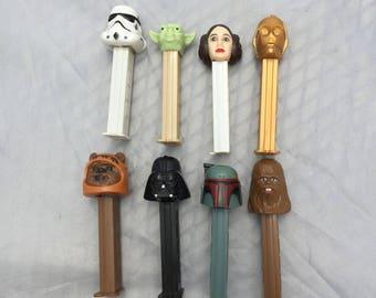 1990s Vintage Star Wars Pez Dispensers, 8, 1997- Chewbacca, Darth Vader, Yoda, Storm Trooper, C3PO, 1999- Princess Leia, Boba Fett & Ewok