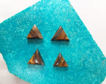 Tigerseye Triangle Cabochons/ set of 4/ backed