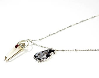 Gray necklace with agate and Crystal pendant