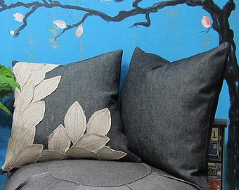 Fast Shipping/Grayu0026Light Gray Denim Pillow Cover/Cheerful Home Decor/Housewarming  Gift