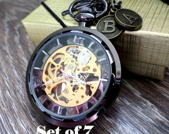Wedding Pocket Watch Set of 7 Personalized Black Pocket Watches with Chains Clearance Groomsmen Best Man Usher Groom Ships to USA/Canada