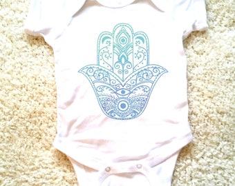 Hamsa hand evil eye graphic for baby girls, newborn, 6 months, 12 months, 18 months funny graphic baby onesie