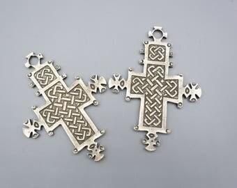 Silver Ethiopian Coptic Cross - Cross Pendant - Silver Coptic Cross - African Pendant - African Finding Ethiopian Cross - 2 Pieces
