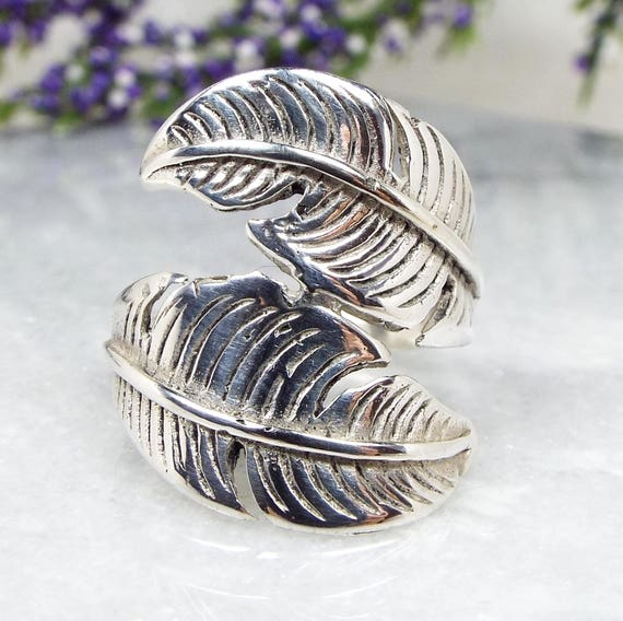 Vintage / Sterling Silver Large Wrapping Bird Feather Statement Ring / Size T