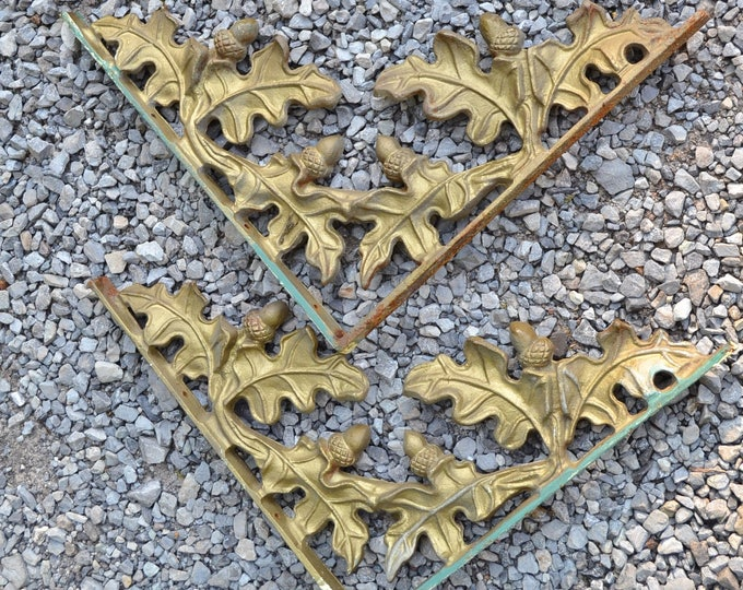 Vintage Cast Iron Oak Leaf Bracket Set of 2 Acorn Corner Bracket Metal Shelf Support Corbel Architectural Salvage  PanchosPorch