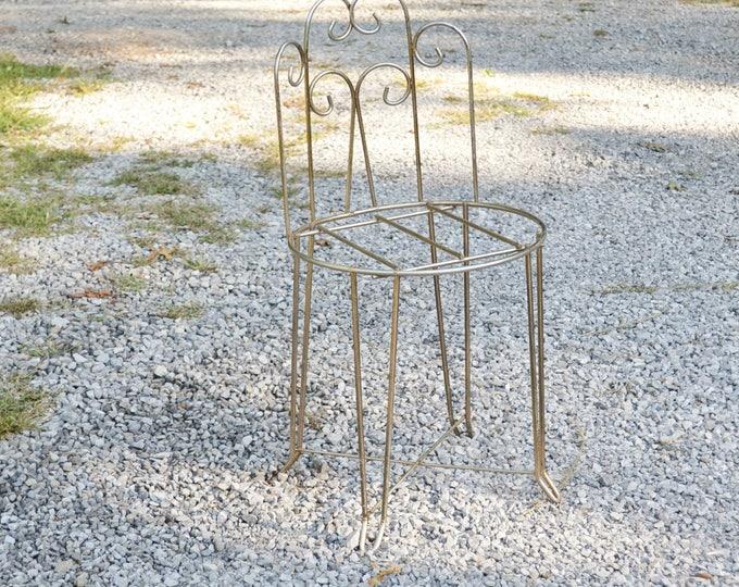 Vintage Metal Vanity Stool Chair Brass Tone Metal Hollywood Regency Panchosporch