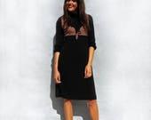 Black Casual Dress Vintage 1970s Marks And Spencers Dress Loose Dress Slouchy Dress Modest Dress Midi Dress Knitted Dress Tunic Dress