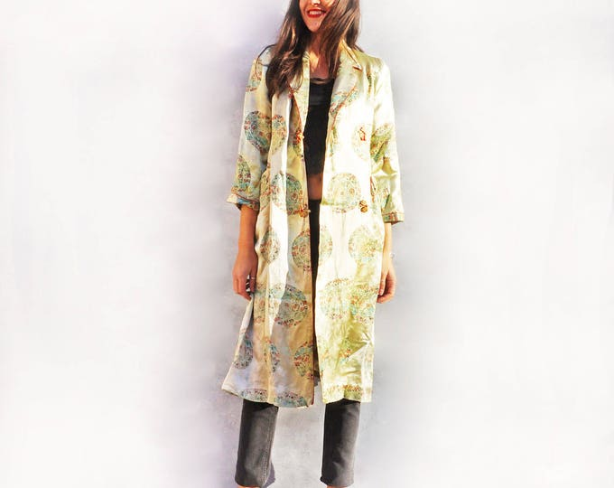 Silk Duster Coat, Vintage Silk Kimono, Paisley Robe, Silk Evening Coat, Green Kimono, Asian Kimono, Evening Wraps, Evening Cape, Boho Coat