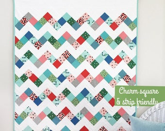 "Frolic Quilt Pattern #154 - New Little Pattern by Cluck Cluck Sew - Charm Square and Jelly Roll Friendly - Baby Size 36"" x 48"" (W4354)"