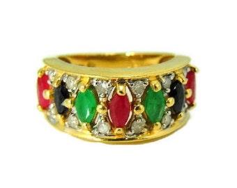 Emerald Ruby Sapphire Diamond Ring 14k Gold Regal Gemstone Band