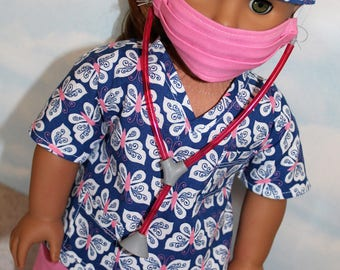 18 Inch Doll (Like American Girl) Royal Blue and Pink Butterfly Print Hospital Scrubs with Stethoscope (5 piece set)