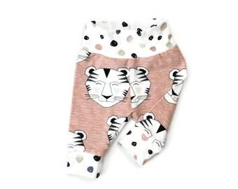 Tiger baby leggings, baby pants, baby girl leggings, baby girl pants, pink baby leggings, girl leggings, baby leggings girl, tiger leggings