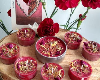 Pomba Gira Love Attraction Candles, Fixed Candles, Soy Tea Lights, Fixed Herbal Candles, Scented Tin Candle and Tea Lights, Red Candles