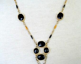 """Vintage Gold Tone w/ Black Glass Faceted Stones & Black Orange Enameled Metal Link Necklace 1970's 21"""""""