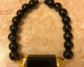 Saints and Sinners Beaded Bracelet with Pendant