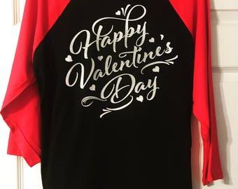 Happy Valentine's Day shirt/Valentine's Day tee/Monogrammed Gifts/Baseball Jerseys/Raglan Tees/3/4 sleeve tees
