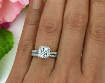 2 ctw Princess Cut Bridal Set, Classic Halo Wedding Ring, Man Made Diamond Simulants, Engagement Ring, Wedding Set, Sterling Silver