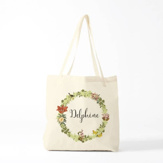 Tote Bag, Delphine, kaki, name of your choice, birth gift, canvas bag name, custom tote bag, name on a bag, purse, groceries bag.
