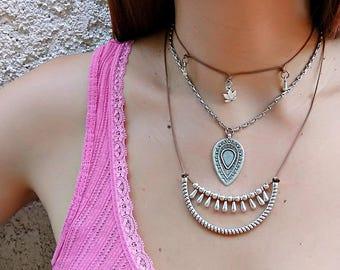 Silver Boho Layered Necklaces / Silver Filled Brass / Gold Filled Brass / Boho Rock Gypsy Short Necklace