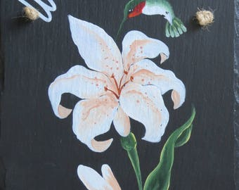 Painted LILYHUM Slate (Lily and Hummingbird)