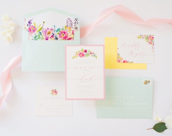 Pastel Colors — Robin's Egg Blue, Blush Pink & Yellow Floral Spring Wedding Invitation with RSVP, Envelope Liner - Other Colors Available