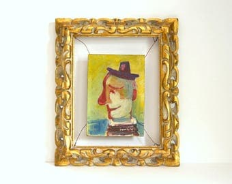 Oil painting clown midcentury French Jean Toth