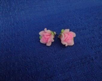 Pink Rose Earrings,Pink Flower Stud Earrings,Polmyer Earrings,Mothers Day Gift