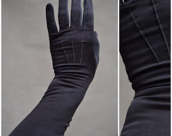 Vintage Gloves, Ladies 40's / 50's Black Mousquetaire gloves with two button fastening, Ladies evening gloves, formal elbow length gloves