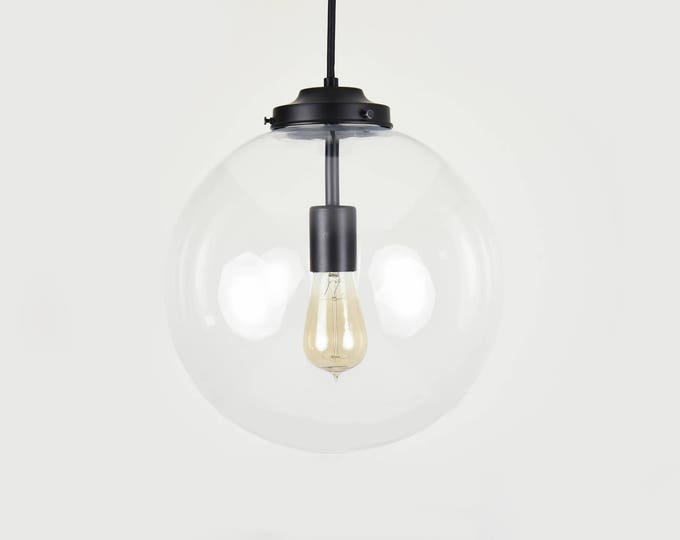 Matte Black Modern Pendant Lighting with Clear Glass Globe - Cloth Wire -  Kitchen Island