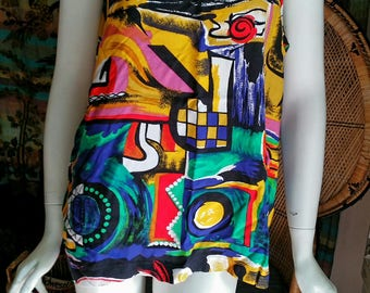80's Gitano Tank Top, Abstract Tank Top, Loose Fitting Tank Top, Modern  Tank Top. Bright Primary Color Tank Top, Gitano Brand, LG