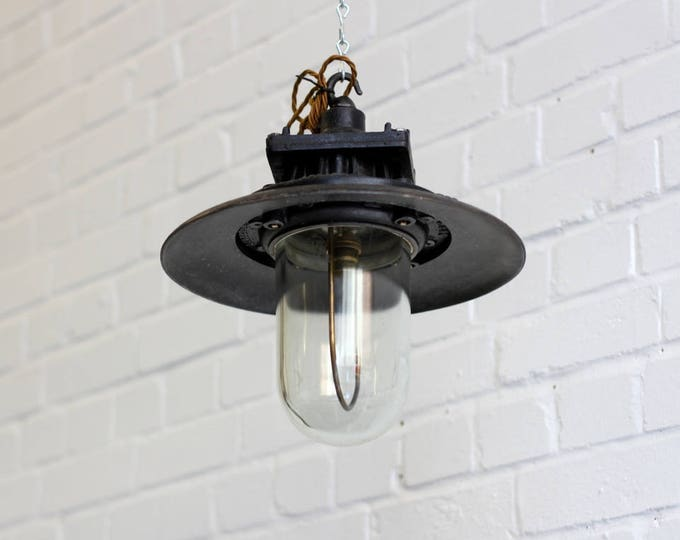 Flameproof Industrial Pendant Light By Revo Circa 1930s