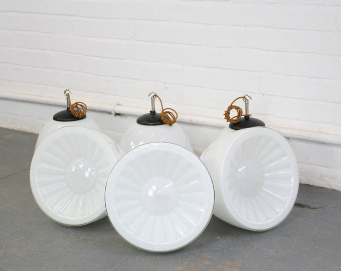Mid Century Czech Opaline Glass School Lights Circa 1950s
