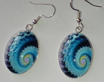 Blue glass swirl earrings