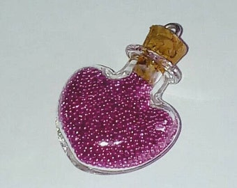 X 1 heart micro-ball 30mm fuchsia glass jar