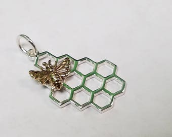Sterling Silver Honeycomb Charm with Bronze Bee, Honeycomb Pendant, Bee Charm, Honey Bee Charm, Bee Charm, Honeycomb, Bumble Bee Charm, Bees