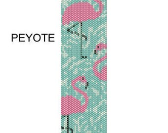 Pink Flamingos beading PATTERNS (even count PEYOTE and LOOM patterns for bracelet, cuff or bookmark) 2PDF