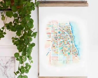 Chicago Map Watercolor Canvas Wall Banner