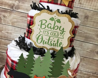 Woodland Baby Shower Centerpiece, Baby It's Cold Outside Woodland Diaper Cake