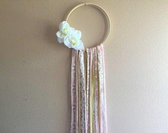 Pink Gold Girl Nursery Decor Rose Flower Wreath Wall Hanging Wood Hoop Simple Lace Boho Bohemian Modern Long Tassels Gift Idea Baby Shower