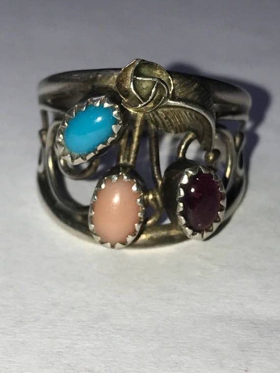Navajo Multistone Sterling Ring Henry Sam Sz 7.5 Amethyst Sleeping Beauty Turquoise Pink Coral 925 Silver Vintage Jewelry Native Gift Boho