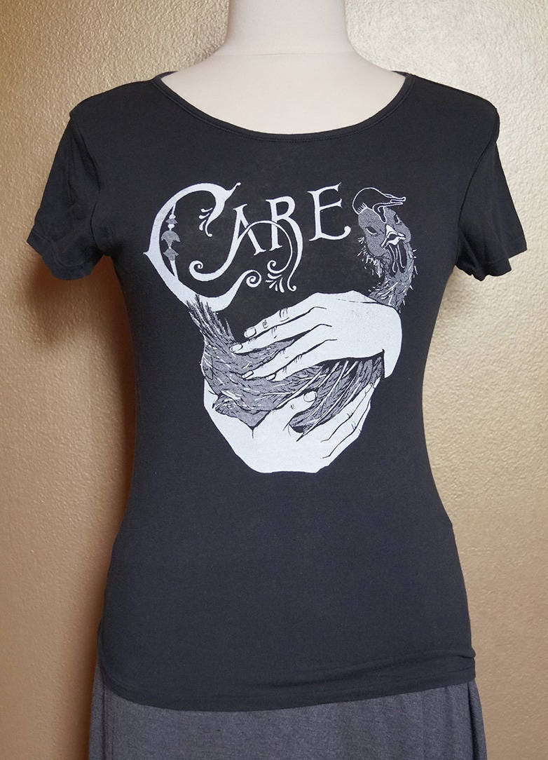 """Small """"Care"""" Tee, White Ink on Black"""