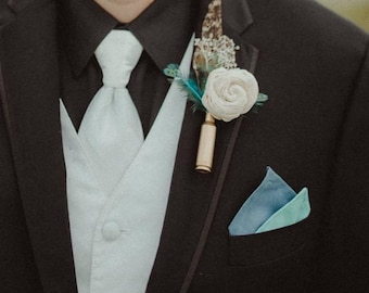 Rustic White Sola Wood Flower Boutonniere, customizable! Teal pheasant and other feathers, dried babies breath, w/ bullet casing or twine