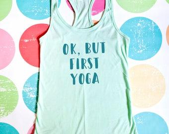 Yoga Tank Top - Ok, but first yoga - Mint Racerback Tank Top