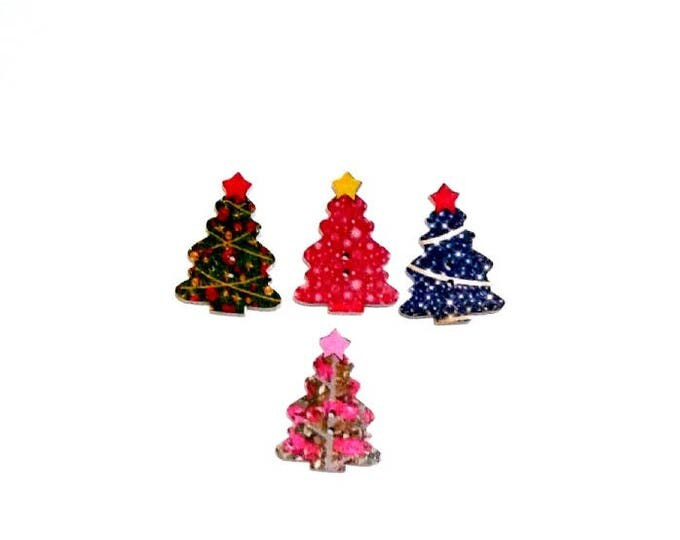4 x Christmas Trees wooden buttons Pack 1