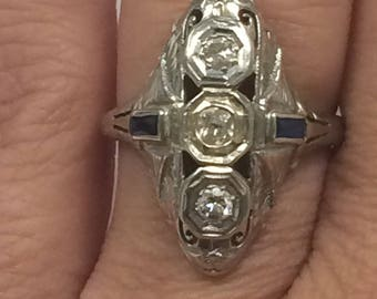 Vintage 1940's 14K White Gold .50CTW Diamond and Sapphire Ring Size 6.25