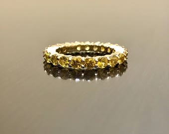 18K Yellow Gold Yellow Sapphire Engagement Band - 18K Gold Yellow Sapphire Eternity Wedding Band - 18K Yellow Ceylon Sapphire Eternity Band