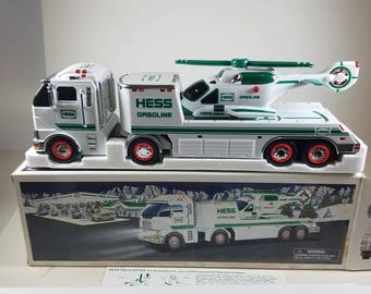 2006 Hess Large Toy Truck and Helicopter Flatbed Trailer Holiday Christmas Toy Vehicle